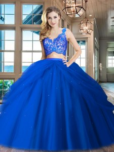 High Quality Ruffled V-neck Sleeveless Zipper 15 Quinceanera Dress Royal Blue Tulle