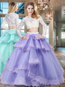 Dynamic Lavender Scoop Zipper Beading and Lace and Ruffled Layers Sweet 16 Quinceanera Dress Long Sleeves