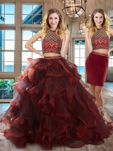 New Style Halter Top Sleeveless Beading and Ruffles Backless Vestidos de Quinceanera with Burgundy Brush Train