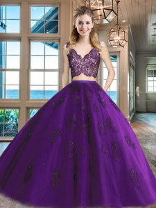 Dynamic Sleeveless Floor Length Lace and Appliques Zipper 15 Quinceanera Dress with Purple