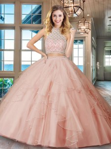 High Class Halter Top Sleeveless Beading and Ruffles Backless Sweet 16 Quinceanera Dress