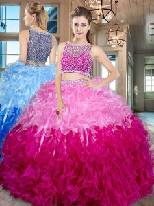 Exceptional Bateau Sleeveless Organza Sweet 16 Quinceanera Dress Beading and Ruffles Side Zipper