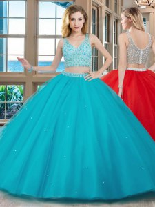 With Train Aqua Blue Ball Gown Prom Dress Tulle Brush Train Sleeveless Beading