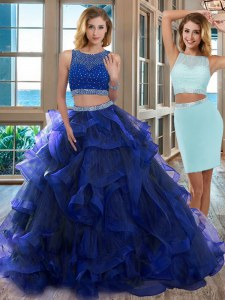 Extravagant Royal Blue Two Pieces Organza Scoop Sleeveless Beading Floor Length Backless Vestidos de Quinceanera