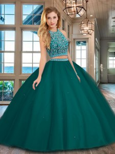 High Class Scoop Backless Dark Green Sleeveless Beading Floor Length Quinceanera Dresses