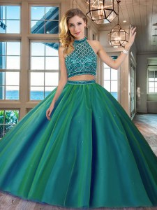 Beauteous Halter Top Backless Dark Green Quinceanera Dresses Tulle Brush Train Sleeveless Beading