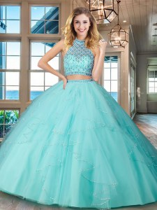 Elegant Halter Top Sleeveless Beading and Ruffles Backless Ball Gown Prom Dress