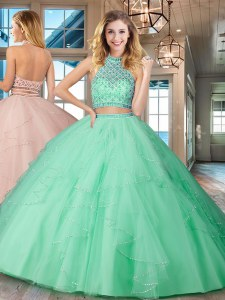 Suitable Halter Top Sleeveless Tulle Floor Length Backless Ball Gown Prom Dress in Apple Green with Beading and Ruffles