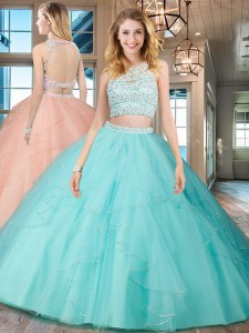 Aqua Blue Tulle Backless Scoop Sleeveless Floor Length 15 Quinceanera Dress Beading and Ruffles