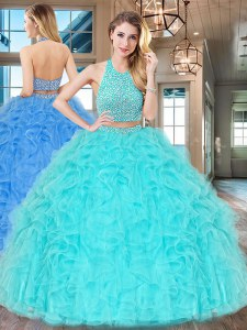 Two Pieces 15th Birthday Dress Aqua Blue Halter Top Tulle Sleeveless Floor Length Backless