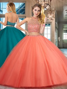 Hot Selling Halter Top Orange Red Tulle Backless Quinceanera Gown Sleeveless Floor Length Beading