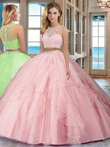 Vintage Scoop Baby Pink Two Pieces Beading and Ruffles Sweet 16 Quinceanera Dress Zipper Tulle Sleeveless Floor Length