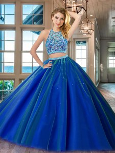 Scoop Sleeveless Tulle Floor Length Backless Ball Gown Prom Dress in Royal Blue with Beading