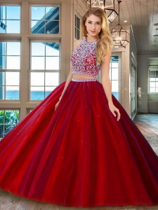 Customized Scoop Red Tulle Backless 15 Quinceanera Dress Sleeveless Beading