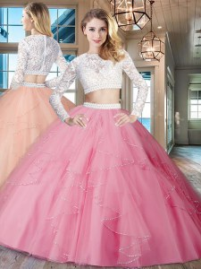 High End Rose Pink Two Pieces Tulle Scoop Long Sleeves Beading and Lace and Ruffles Floor Length Zipper Ball Gown Prom Dress