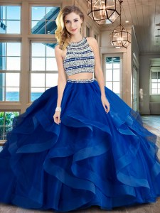 Backless Scoop Sleeveless Quince Ball Gowns With Brush Train Beading and Ruffles Royal Blue Tulle