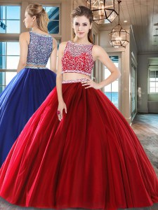 Top Selling Bateau Sleeveless Side Zipper Quinceanera Gowns Wine Red Tulle