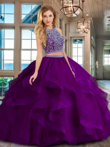 Comfortable Scoop Floor Length Backless Sweet 16 Dress Purple for Military Ball and Sweet 16 and Quinceanera with Beading and Ruffles
