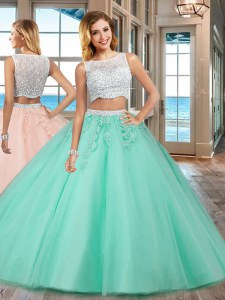 Floor Length Two Pieces Sleeveless Apple Green Ball Gown Prom Dress Side Zipper