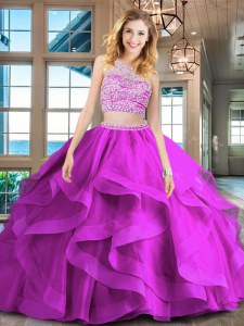 With Train Fuchsia Ball Gown Prom Dress Scoop Sleeveless Brush Train Backless