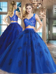 Tulle V-neck Sleeveless Zipper Lace and Appliques Ball Gown Prom Dress in Royal Blue