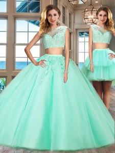 Colorful Apple Green Bateau Neckline Appliques Quinceanera Gown Cap Sleeves Zipper