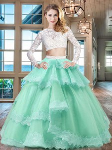 Captivating Scoop Lace Ruffled Floor Length Two Pieces Long Sleeves Apple Green Sweet 16 Dresses Zipper