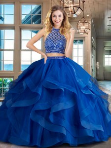 Delicate Royal Blue Tulle Backless Halter Top Sleeveless Quinceanera Gowns Brush Train Beading and Ruffles