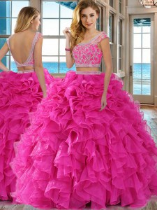 Scoop Cap Sleeves Floor Length Backless Ball Gown Prom Dress Hot Pink for Military Ball and Sweet 16 and Quinceanera with Beading and Ruffles