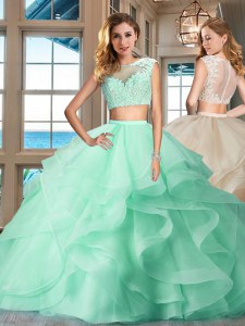 Luxury Cap Sleeves Floor Length Zipper Quinceanera Dresses Apple Green for Military Ball and Sweet 16 and Quinceanera with Appliques and Ruffles