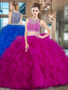 Decent Tulle Bateau Sleeveless Brush Train Side Zipper Beading and Ruffles 15th Birthday Dress in Fuchsia
