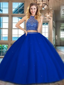 Trendy Halter Top Sleeveless Floor Length Beading Backless Quinceanera Gown with Royal Blue