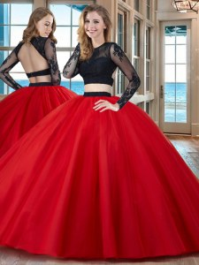 Scoop Long Sleeves Tulle Floor Length Backless 15 Quinceanera Dress in Red with Appliques