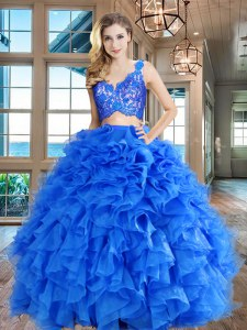 Custom Design Floor Length Two Pieces Sleeveless Blue Quinceanera Dress Zipper
