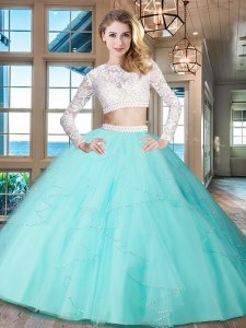 Scoop Long Sleeves Zipper Floor Length Beading and Lace and Ruffles Sweet 16 Dresses