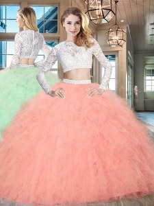 Scoop Long Sleeves Zipper Floor Length Beading and Lace and Ruffles Quinceanera Gowns