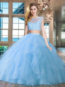 Edgy Light Blue Scoop Zipper Beading and Appliques and Ruffles Quinceanera Dress Brush Train Cap Sleeves