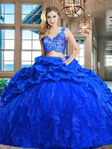 Top Selling V-neck Sleeveless Taffeta and Tulle Vestidos de Quinceanera Lace and Ruffles and Pick Ups Brush Train Zipper