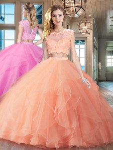 Adorable Scoop Peach Two Pieces Beading and Appliques and Ruffles 15 Quinceanera Dress Zipper Organza Cap Sleeves With Train