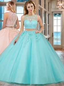 Aqua Blue Scoop Zipper Beading and Appliques Sweet 16 Dress Sleeveless