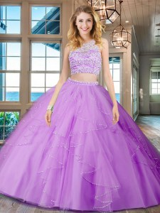 Flare Lilac Sweet 16 Dress Military Ball and Sweet 16 and Quinceanera and For with Beading and Ruffles Scoop Sleeveless Backless
