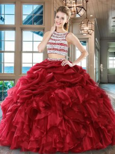 Chic Wine Red Backless Scoop Beading and Ruffles and Pick Ups Quinceanera Gowns Organza Sleeveless