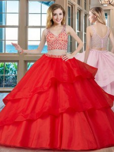 Admirable Red Organza Zipper Sweet 16 Dress Sleeveless With Brush Train Beading