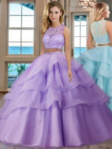 Edgy Lavender Quince Ball Gowns Military Ball and Sweet 16 and Quinceanera and For with Beading and Appliques and Ruffled Layers Scoop Sleeveless Zipper