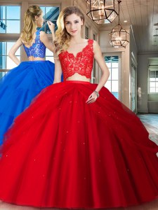 Floor Length Red Vestidos de Quinceanera Tulle Sleeveless Lace and Ruffled Layers