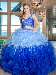 Multi-color Sleeveless Organza Zipper 15th Birthday Dress for Military Ball and Sweet 16 and Quinceanera