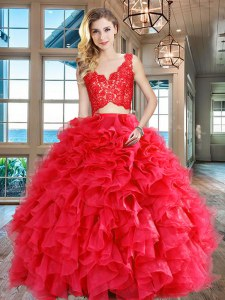 Amazing Floor Length Red Sweet 16 Dress V-neck Sleeveless Zipper
