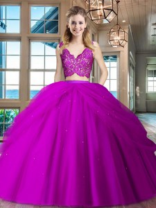 Extravagant Fuchsia Sleeveless Lace and Ruffled Layers Floor Length Quinceanera Gowns