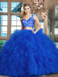 Fashion Royal Blue Quinceanera Gown Military Ball and Sweet 16 and Quinceanera and For with Lace and Ruffles V-neck Sleeveless Brush Train Zipper