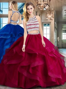 Wine Red Two Pieces Scoop Sleeveless Tulle With Brush Train Backless Beading and Ruffles Sweet 16 Dresses